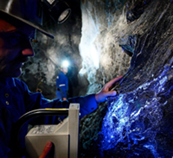 Photo: Scheelite in ultraviolet light, Felbertal mine (AT)
